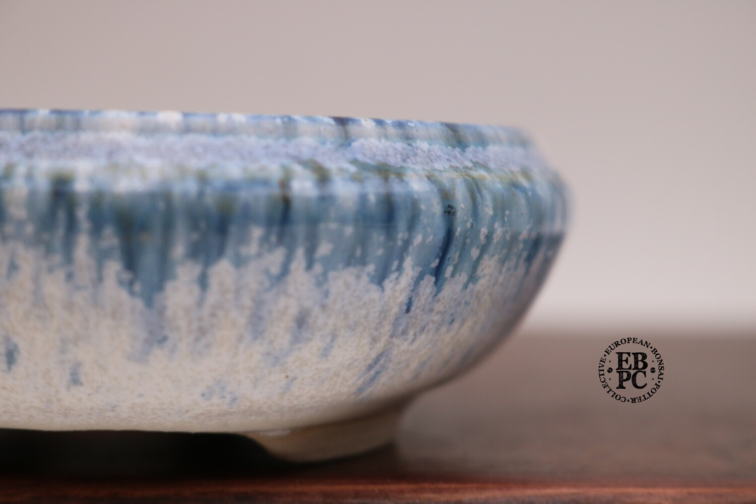 SOLD - PAS Pots - 11.2cm  Round; Shohin / Accent pot; Hand Thrown; Superb Glaze; Oribe-like blue crystals over White; Detailed foot ring; Patricia