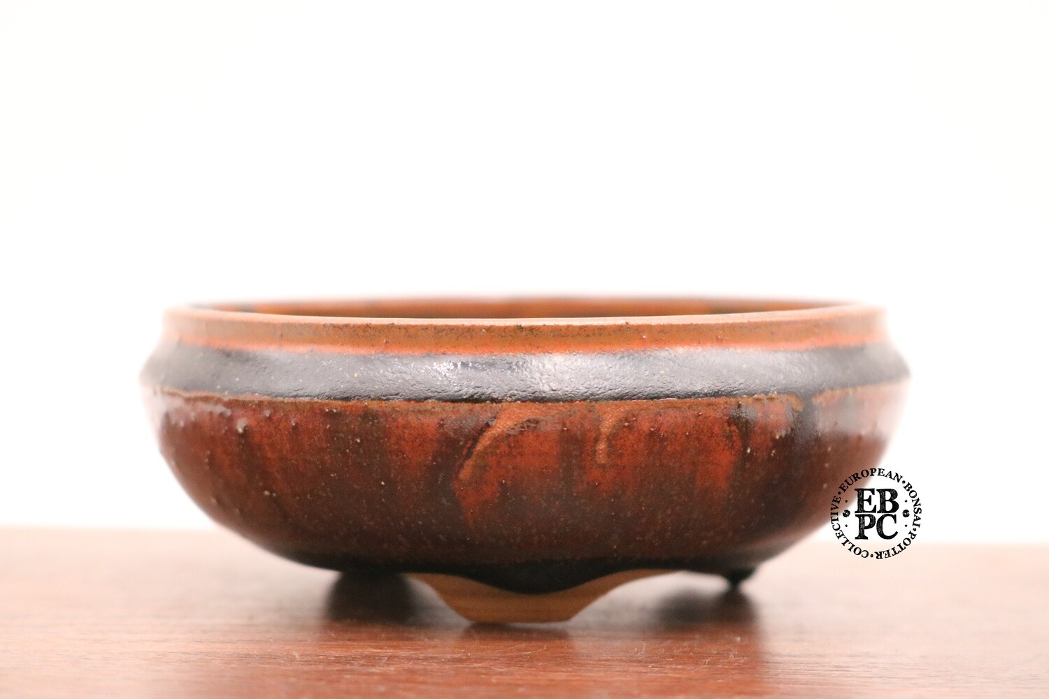 SOLD - PAS Pots - 11.2cm  Round; Shohin / Accent pot; Hand Thrown; Reddish-brown Glaze; Glaze drips; Detailed foot ring; Patricia