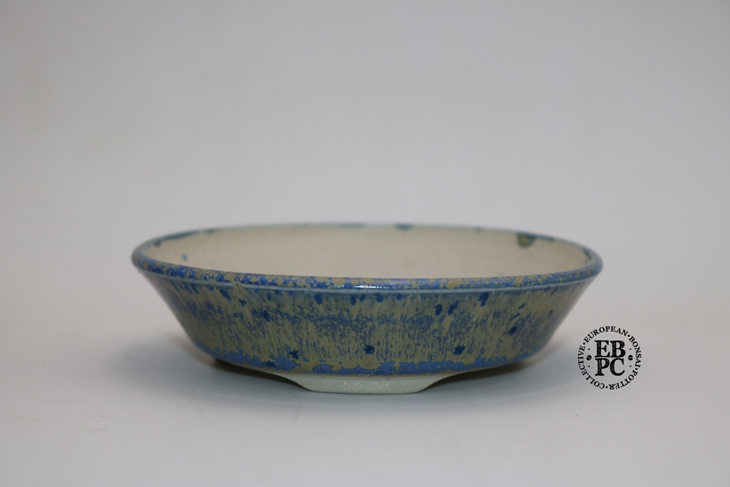SOLD - PAS Pots - 10.9cm  Round; Shohin / Accent pot; Hand Thrown; Blue & Tan/Light Brown Glaze; Detailed foot ring; Patricia