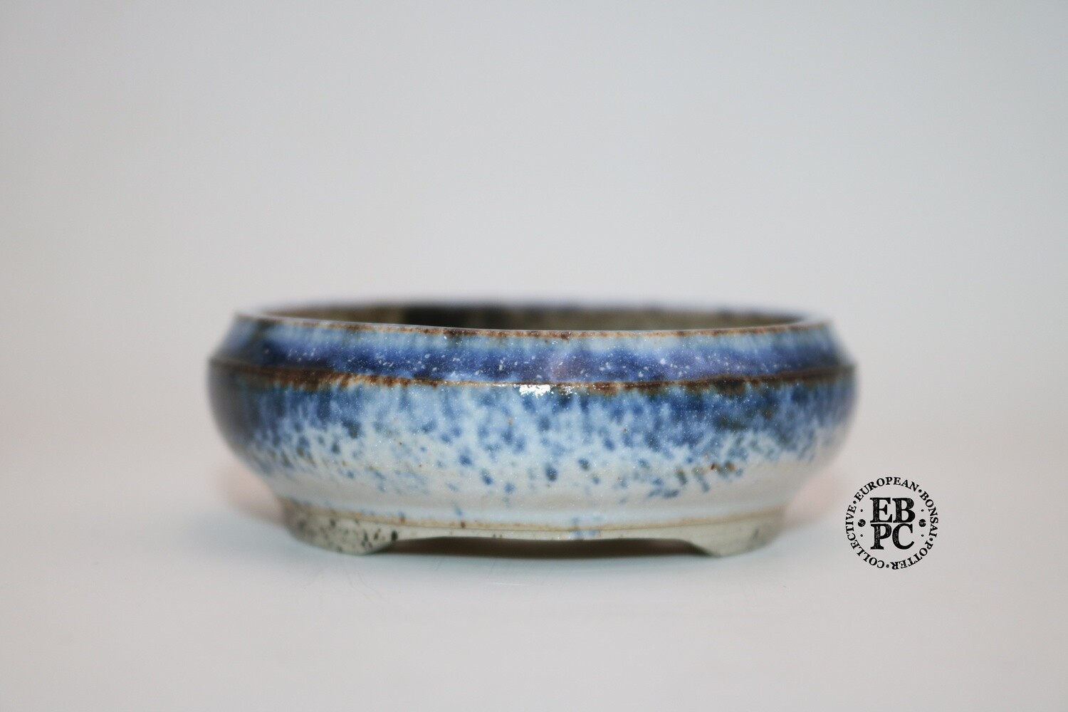 Reserved - PAS Pots - 10.9cm  Round; Shohin / Accent pot; Hand Thrown; Blue & Tan/Light Brown Glaze; Detailed foot ring; Patricia