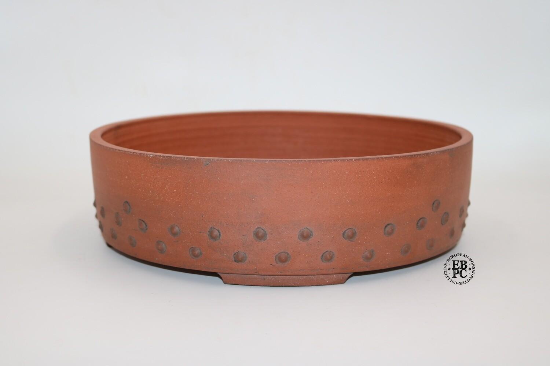 Stone Monkey Ceramics - 28.7cm; Drum Pot; Reddish Clay; Rivets / Studs; Andrew Pearson