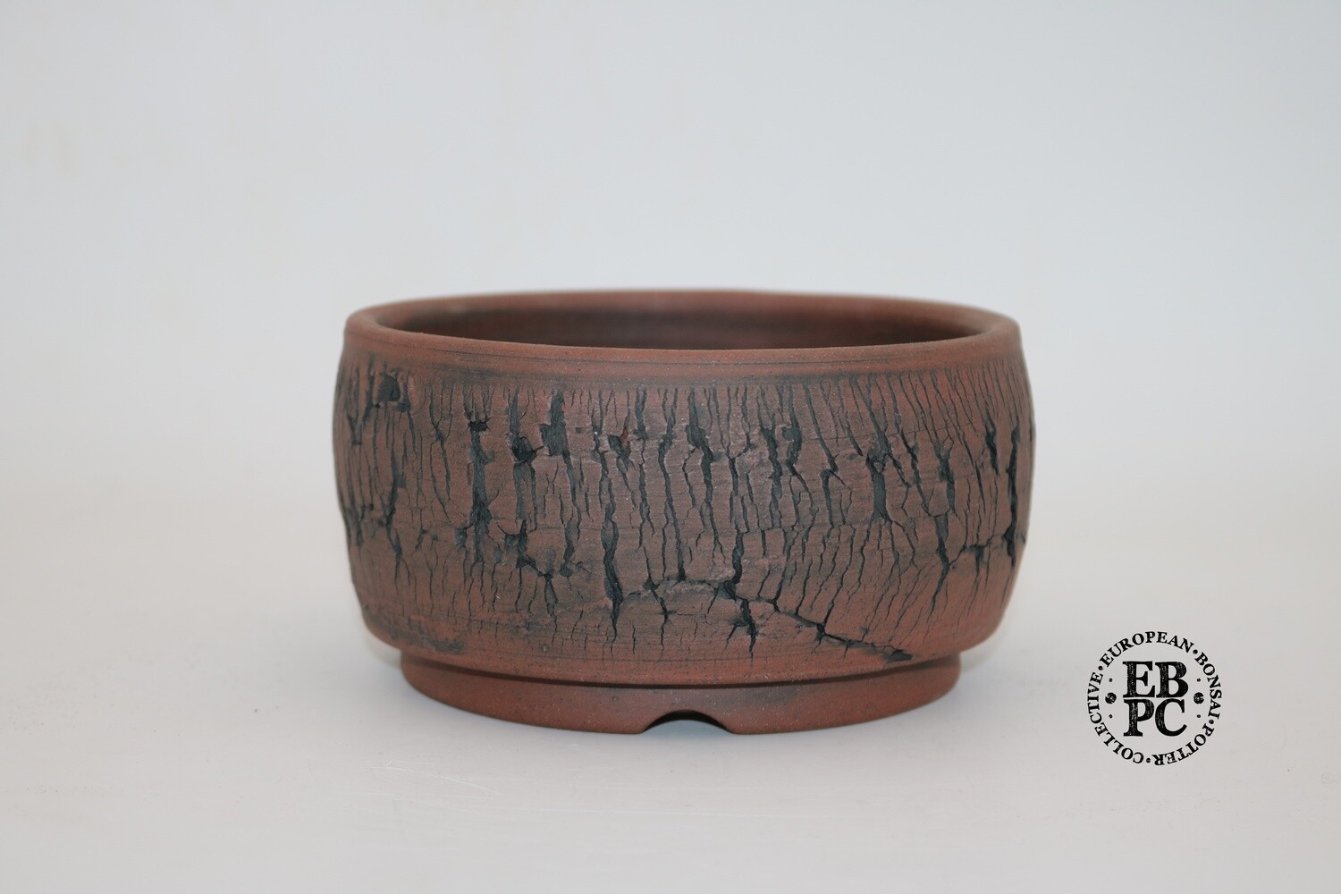 Paul Rogers Ceramics - 14cm; Unglazed; Round; Repeat Crackle Finish; Browns; EBPC Stamped;