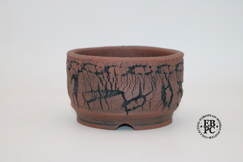 Paul Rogers Ceramics - 12.8cm; Unglazed; Round; Deep Crackle Finish; Browns; EBPC Stamped;