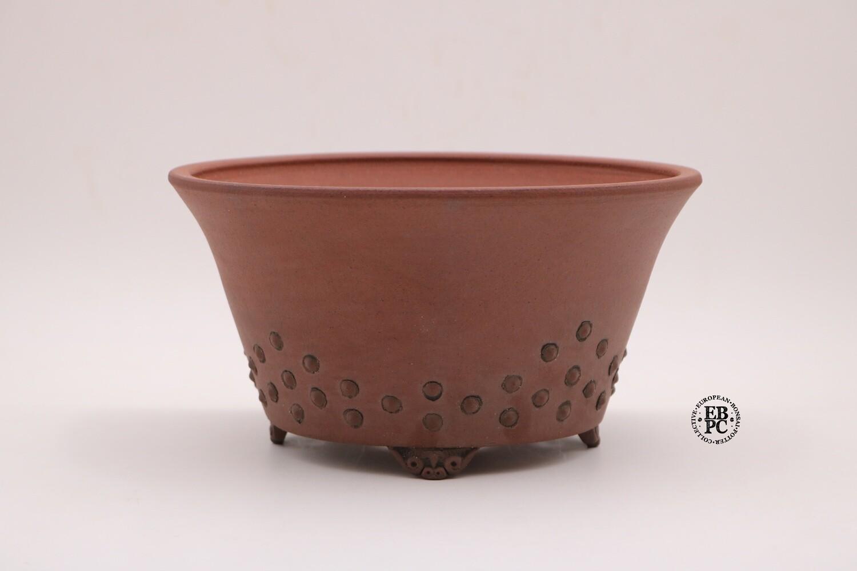 Stone Monkey Ceramics - 23cm; Unglazed; Round; Studded pattern; Reddish clay (like shudei); EBPC Stamped; Andrew Pearson; Gafu-ten winner;