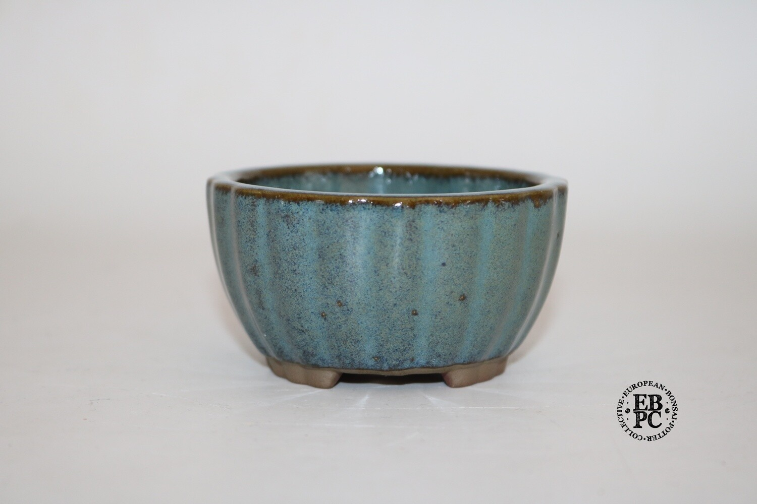 SOLD - Willow Bonsai Pots, S.Africa -  Round; Multi-faceted Design; 'Peacock' Glaze; Shades of Blue; Browns; Scalloped Feet; EBPC Stamped.