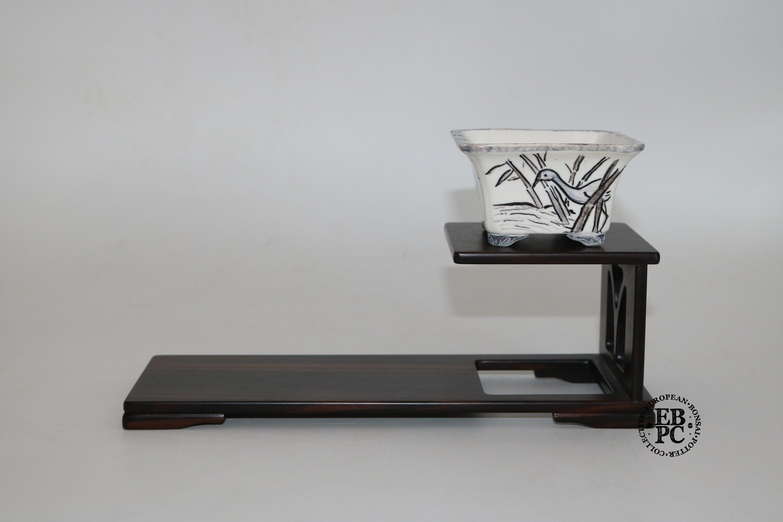 Guerao Bonsai Pots -Collaboration Piece!  Porcelain; Underglaze Painted Birds; Black Ink; Blue; Square; Guerao Pot; 1st & 2nd Gen