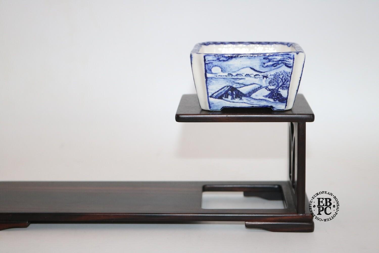 Guerao Bonsai Pots -Collaboration Piece!  Porcelain; Underglaze Painted Scenes; Sometsuke / Blue; Square; Cut Corners; Guerao Pot; 1st & 2nd Gen'