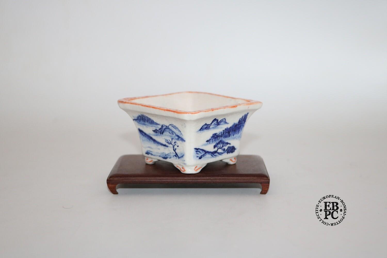 Guerao Bonsai Pots -Collaboration Piece!  Porcelain; Underglaze Painted Scenes; Sometsuke / Blue; Square; Incised Corners; 1st & 2nd Gen Guerao Collaboration.