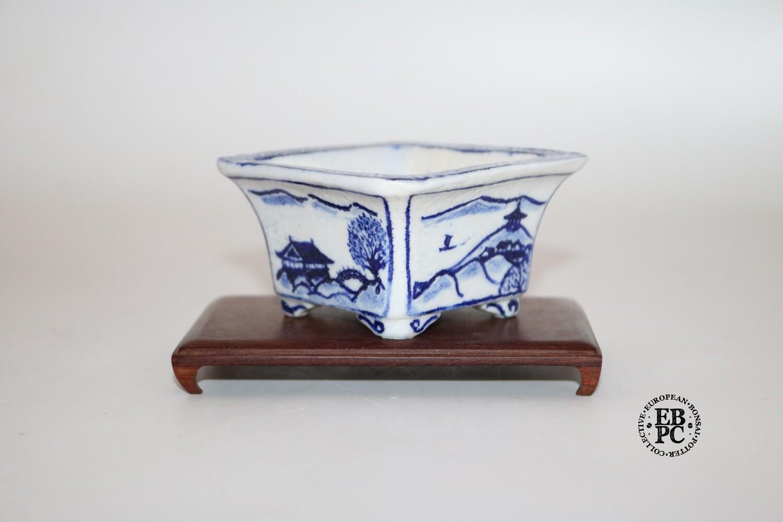 Guerao Bonsai Pots -Collaboration Piece!  Porcelain; Underglaze Painted Scenes; Sometsuke / Blue; Square'; Incised Corners; 1st & 2nd Gen Guerao Collaboration.