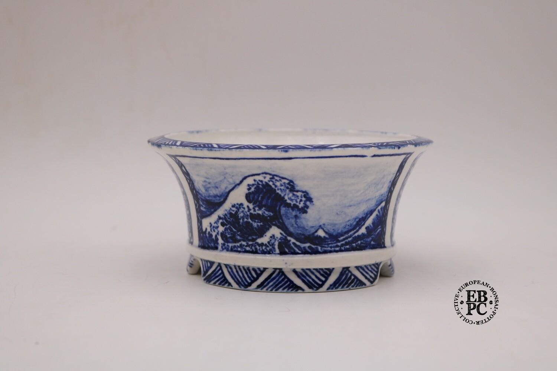 - NOT FOR SALE - SLIGHT CHIP TO RIM    :(                  Guerao Bonsai Pots - Collaboration Piece! Great Wave of Kanagawa; Porcelain; Painted; Sometsuke; Unique Piece; Guerao Pot; 1st & 2nd Gen