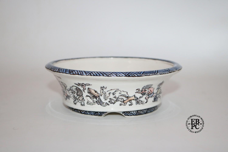 SOLD - Guerao Bonsai Pots -Collaboration Piece! Porcelain; Painted Scenes; 5-Colour; Unique Piece; Guerao Pot; 1st & 2nd Gen