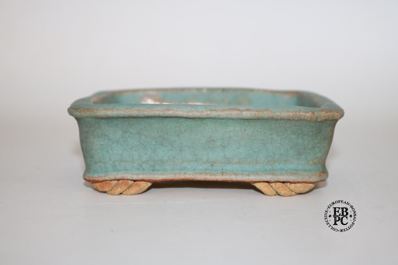 Gramming Pots - 13.6cm; Rectangle; Aged Crackle Glaze; Green; Browns; Older Tomas Gramming Pot