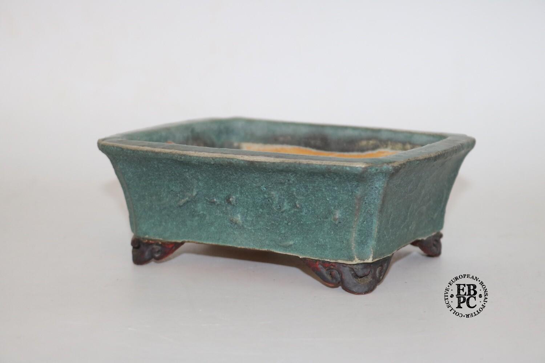SOLD - Gramming Pots - 15.2cm; Rectangle; Glazed; Textured; Green; Browns; Older Tomas Gramming Pot