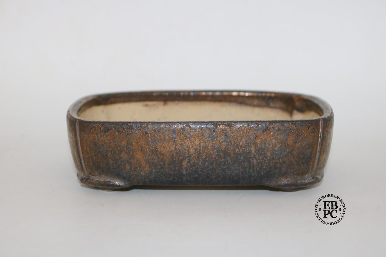SOLD - Me and Raimondi - 15.6cm; Rectangle; Glazed; Gold /Metallic Bronze;  Petiole design feet; Incised corners; Matjaz Raimondi & Nastja Legvart