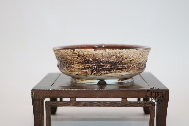 SOLD - Terre en Vadrouille - 10.3cm; Shohin; Round; Glazed; Textured Finish; Cream & Browns;