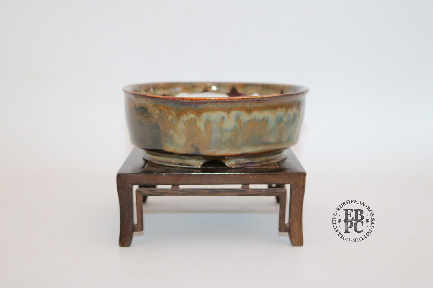 SOLD - Terre en Vadrouille - 13.7cm; Shohin; Round; Intricate Glaze Patterns; Light Green, Blues, Reds; Yellow; Browns;