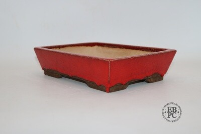 SOLD - M. J. G. Ceramica - 24.5cm; Rectangle; Blood Red Glaze; Recessed Feet; Maria Gonzalez.