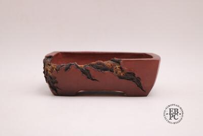 SOLD - M. J. G. Ceramica - 15.6cm; Unglazed; Reddish Brown; Mushikui (Bug Eaten) Effect;  Rectangle, Superb Detailing; Maria Jose Gonzalez.