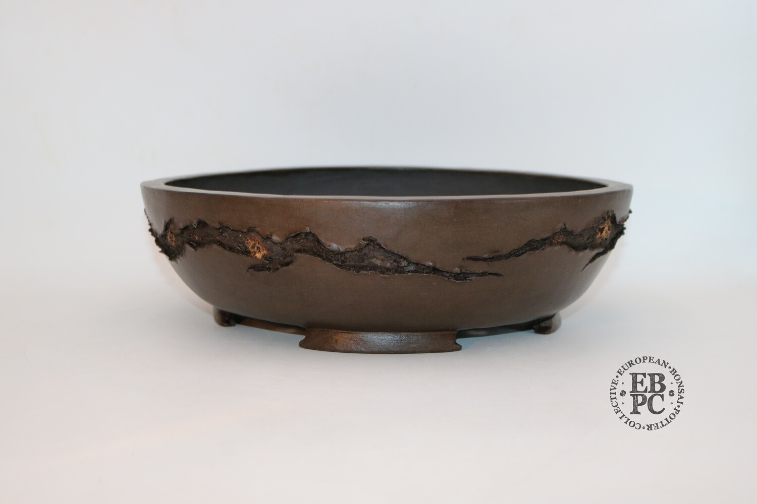 SOLD - M. J. G. Ceramica - 31.1cm; Unglazed; Dark Chocolate Finish; Round; Textured; Mushikui; Maria Gonzalez