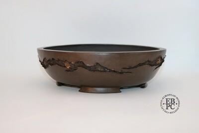 SOLD - M. J. G. Ceramica - 31.1cm; Unglazed; Dark Chocolate Finish; Round; Textured; Mushikui; Maria Gonzalez