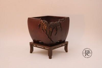 SOLD - M. J. G. Ceramica - 13.5cm; Unglazed; Semi Cascade; Shohin; Bug Bitten; Mushikui; Maria Gonzalez.