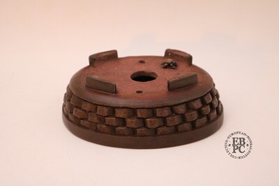 M. J. G. Ceramica - 15.8cm: Unglazed: Oval; Carved; Dark Chocolate Brown; EBPC Stamped; Maria Jose Gonzalez