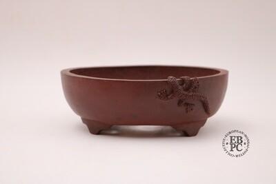 M. J. G. Ceramica - 15.6cm: Unglazed: Oval; Salamander; Reddish-Brown Clay; EBPC Stamped; Maria Jose Gonzalez