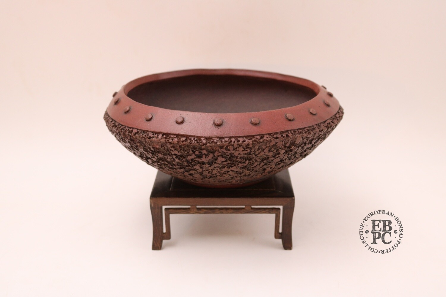 M. J. G. Ceramica - 22cm; Unglazed; Reddish-Brown Clay; Round; Textured; Rivets; Drum / Nanban style; Maria Jose Gonzalez