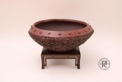 M. J. G. Ceramica - 22cm; Unglazed; Reddish-Brown Clay; Round; Textured; Rivets; Drum / Nanban style; Maria Jose Gonzalez
