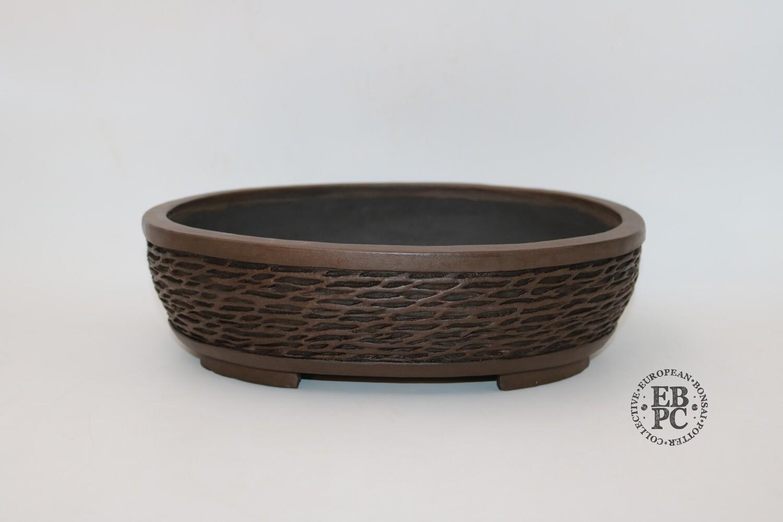 SOLD - M. J. G. Ceramica - 30.7cm: Formidable Design; Oval; Sculpted Body Detail; Dark Chocolate Brown; EBPC Stamped; Maria Jose Gonzalez