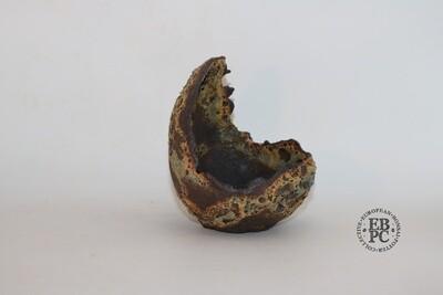SOLD - M. J. G. Ceramica - 14.5cm tall, Rock Effect; Cresent Pot; Browns; Greys; Maria Gonzalez