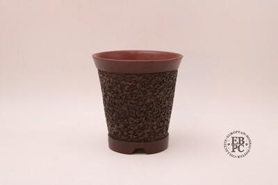 M. J. G. Ceramica - 14.3cm tall Cascade; Unglazed; Reddish-Brown Clay; Round; Textured Body Detail; Maria Jose Gonzalez