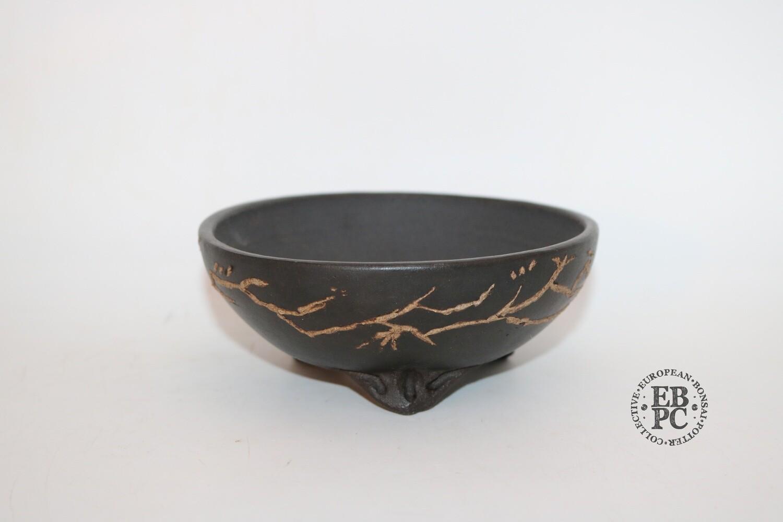 SOLD - M. J. G. Ceramica - 13cm; Dark Clay;  Branch Detail in White Clay; Unglazed; Maria Jose Gonzalez