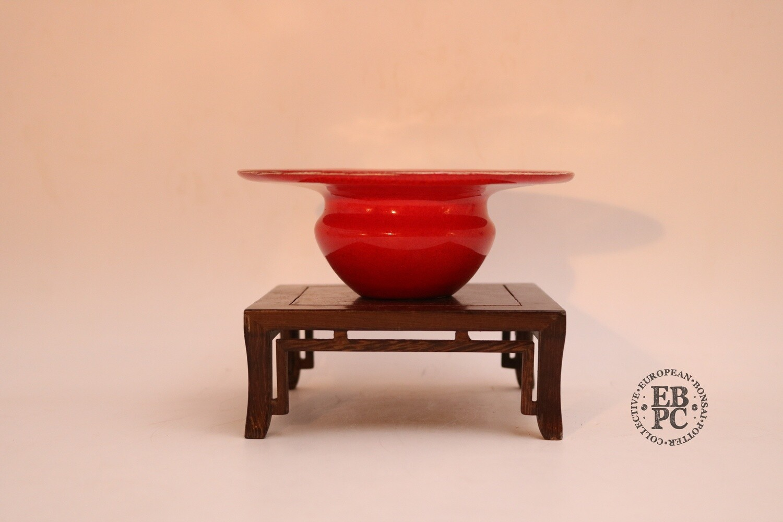 SOLD - M. J. G. Ceramica - 14.3cm, Glazed, Round, Accent, Abstract, Blood Red; Maria Gonzalez