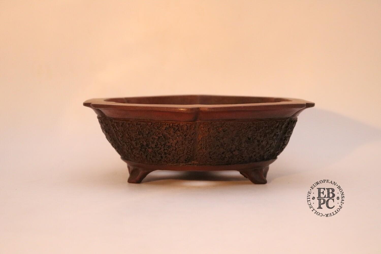 SOLD - M. J. G. Ceramica - 21.2cm: Glazed; Hexagonal; Carved; Incised 'corners'; EBPC Stamped; Maria Gonzalez