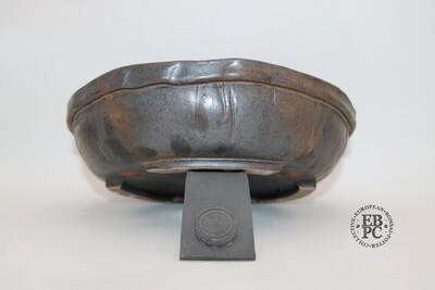 SOLD - Dragonfly Bonsai Pots. 28.3cm; Glazed; 'Metallic Bronze Glaze; Round; Nanban; Manipulated form; Banding to rim; Aged Look
