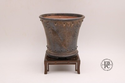 SOLD - Dragonfly Bonsai Pots. 16.5cm; Glazed; 'Metallic Bronze Glaze; Round; Cascade; Studs & Banding Details; Aged Look
