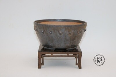 SOLD - Dragonfly Bonsai Pots.  16.3cm; Glazed; 'Metallic Bronze Glaze; Round; Semi-Cascade; Studs/Rivets Details;