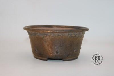 Dragonfly Bonsai Pots.  16.7cm; Glazed; 'Bright Bronze Glaze; Round; Semi-Cascade; Studs/Rivets Details;