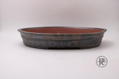 M.B. Bonsaischalen - 46.3cm; Oval; Glazed; Banding; Dark Brown, Lighter Browns; Dual Stamped; Marc Berenbrinker