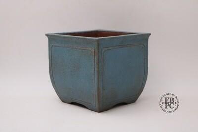 SOLD - M. B. Bonsaischalen - Glazed; Semi cascade; Panelled Frames In Relief; Blues; Brown, EBPC stamped