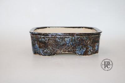 M.B. Bonsaischalen - 20.8cm; Rectangle; Glazed; Dark & Light Blues; Browns; Cream; Integrated Carved feet; EBPC Stamped Piece; Marc Berenbrinker