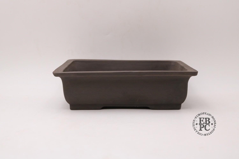 Zey Ceramics - 27.6cm; Unglazed; Rectangle; Dark Brown Clay; Lip to Rim; Recessed feet;