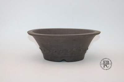 Zey Ceramics - 24cm; Unglazed; Round; Rivets / Studs; Dark Brown Clay; Lip to Rim; Integrated foot ring;