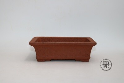 Zey Ceramics - 22.5cm; Unglazed; Rectangle; Groggy Red/Brown Clay; Lip to Rim; Recessed feet;