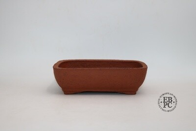 Zey Ceramics - 24cm; Unglazed; Soft-Cornered Rectangle; Groggy Red/Brown Clay; Recessed feet; Basal Band
