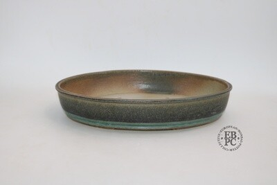 35cm Pale Beige//Brown Shallow Oval Glazed Bonsai Pot