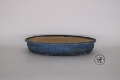 SOLD - Bruno Auvinet - 29.2cm, Glazed; Oval; Dark Blue Glaze; EBPC Stamped; Bruno Auvinet