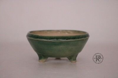 Amdouni Bonsai Pots - 9.4cm; Porcelain; Celadon; 'Greek Key pattern; Round; Mame/ Accent pot; Green; Sami Amdouni