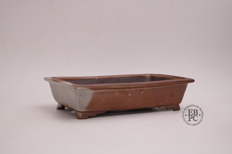 Amdouni Bonsai Pots - 21cm; Rectangle; Shino-like glaze; Shohin;   Rusty brown; White; Sami Amdouni